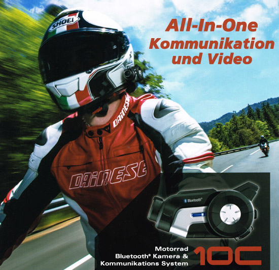 SENA 10C - Bluetooth 4.0 Stereo Headset mit integrierter Action Kamera für Motorradfahrer
