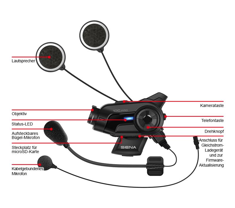 Details des Sena 10C Pro Bluetooth-Kamera und Kommunikations-System für Motorräder