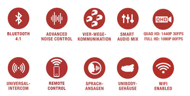 Features des Sena 10C Pro Bluetooth-Kamera und Kommunikations-System für Motorräder