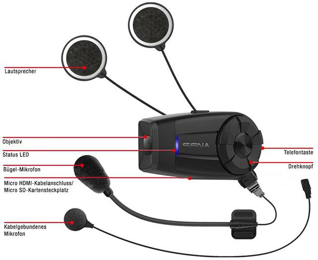 Details des Sena 10C EVO Bluetooth QHD-Kamera und Kommunikationssystem für Motorräder mit WLAN Technologie