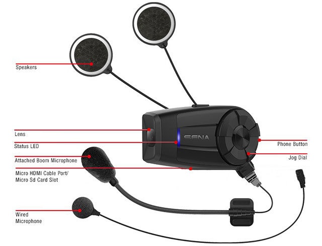 Details of the Sena 10C EVO motorcycle Bluetooth QHD camera and communication system equipped with WiFi