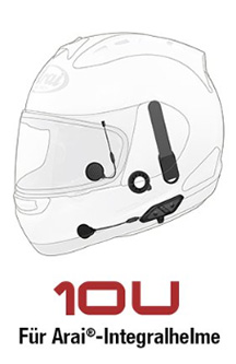 SENA 10U - Bluetooth 4.0 Stereo Headset mit Interkom speziell für Arai Integralhelme