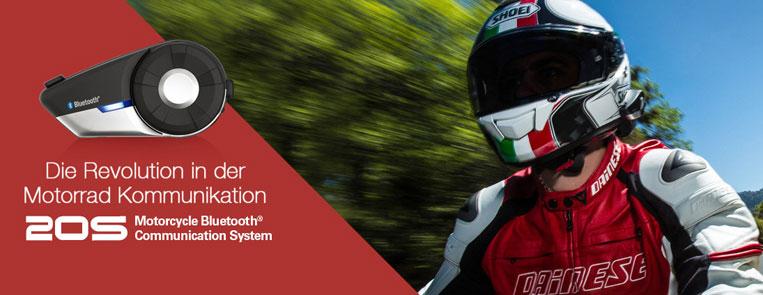 Das SENA 20S High-End Bluetooth Stereo Headset mit Interkom für bis zu 9 Teilnehmer revolutioniert die Motorrad Kommunikation