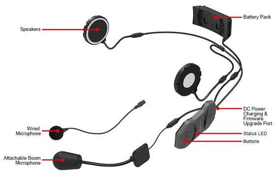 Details 10R Bluetooth 4.1 Class 1 Stereo Headset with long-range Bluetooth Intercom for Sport Bike Riders