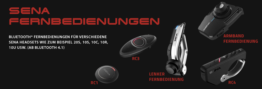 Sena Bluetooth® Fernbedienungen für verschiedene Sena Headsets wie zum Beispiel 20S, 10S, 10C, 10R,10U