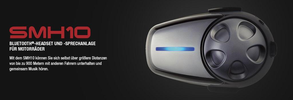 SMH10 Motorrad Stereo Bluetooth Headset, bis 900m Reichweite, Interkom bis 4 Personen (auch Konferenz) mehrere Halterungen optional verfügbar