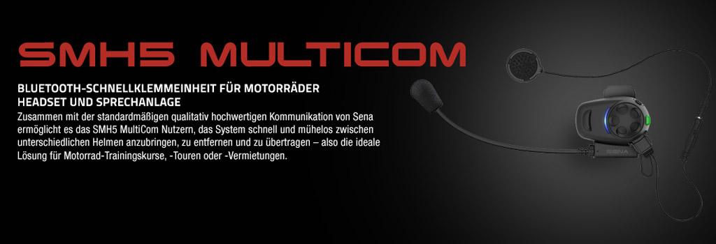SMH5 Multicom Motorrad Stereo Bluetooth Headset, bis 400m Reichweite, Interkom bis 4 Personen (keine Konferenz) mit fester Standardhalterung