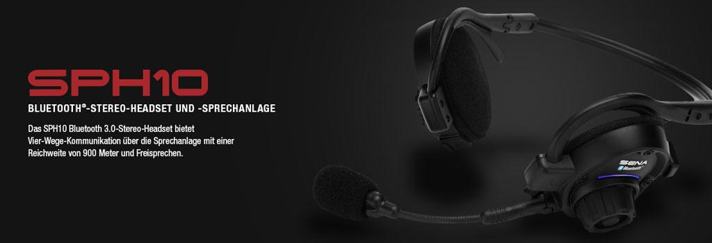 SPH10 Stereo Bluetooth Sport Headset, bis 900m Reichweite, Interkom bis 4 Personen (auch Konferenz) mit Nackenbügel