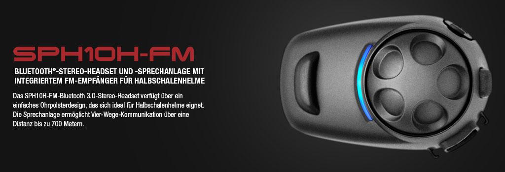 SPH10H Stereo Bluetooth Sport Headset, bis 900m Reichweite, Interkom bis 4 Personen (auch Konferenz) mit Nackenbügel