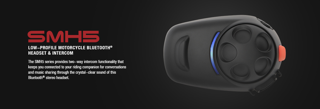 SMH5 Motorrad Stereo Bluetooth Headset, bis 400m Reichweite, Interkom bis 4 Personen (keine Konferenz) mit fester Standardhalterung