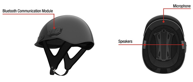 The Sena Cavalry is a half-shell helmet with built-in Bluetooth headset for use on a bicycle, the equestrian sports and other activities