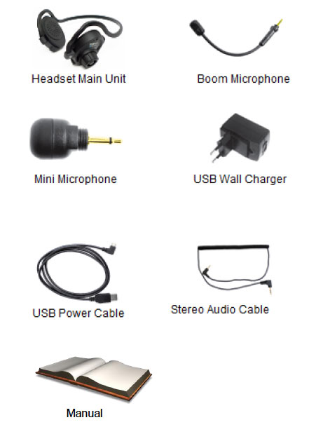 Kit content of the SPH10 Bluetooth Headsets