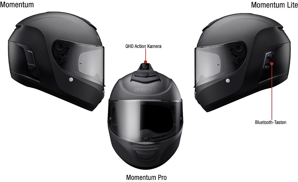 Details der Sena Integralhelme der Momentum Serie mit integriertem Bluetooth - Momentum, Momentum Lite und Momentum Pro