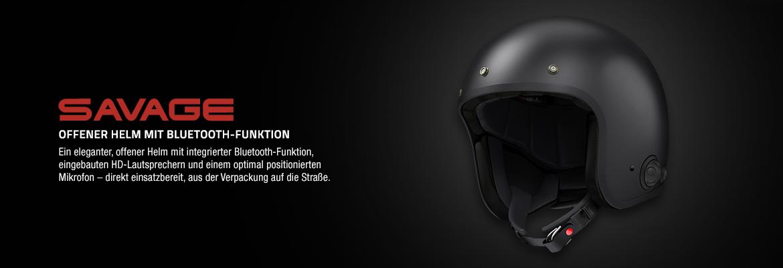 Sena Savage offener Jet-Helm mit integriertem Bluetooth und eingebauten HD-Lautsprechern