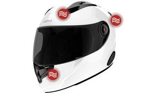 Sena Smart Helm mit integrierter, elektronischer Geräuschreduzierung sowie optionaler Bluetooth Interkom Anlage - Passform und Belüftung