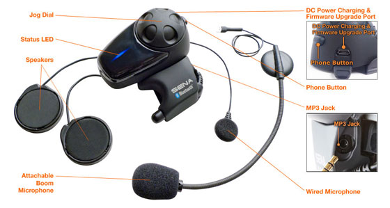 SMH10 Snowmobile Special Dual Pack Bluetooth v2.1 Class 1 Stereo Headset Bluetooth Intercom - Details