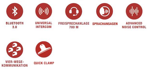 Features des Sena SMH5 MultiCom Bluetooth Headset mit Schnellwechselhalterung für einfach Montage