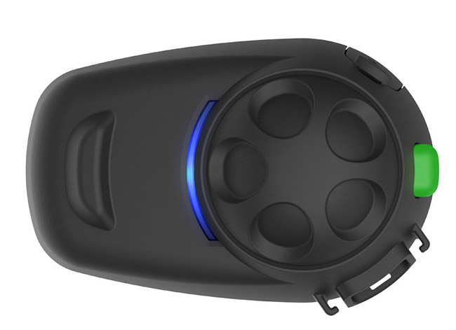 Sena SMH5 MultiCom Bluetooth Headset designed to easily snap on and off of user's helmets