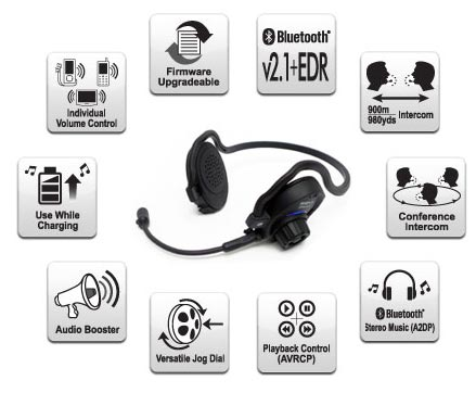 SPH10 Bluetooth v2.1 Class 1 Stereo MultipairHeadset with Intercom Bluetooth Features