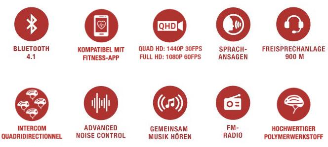 Features des Sena X1 und X1 Pro Fahrradhelm mit integriertem Bluetooth und QHD-Kamera